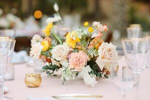 Yellow-and-Blush Centerpiece With Roses