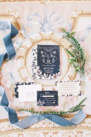 Navy Bohemian Floral Wedding Invitations