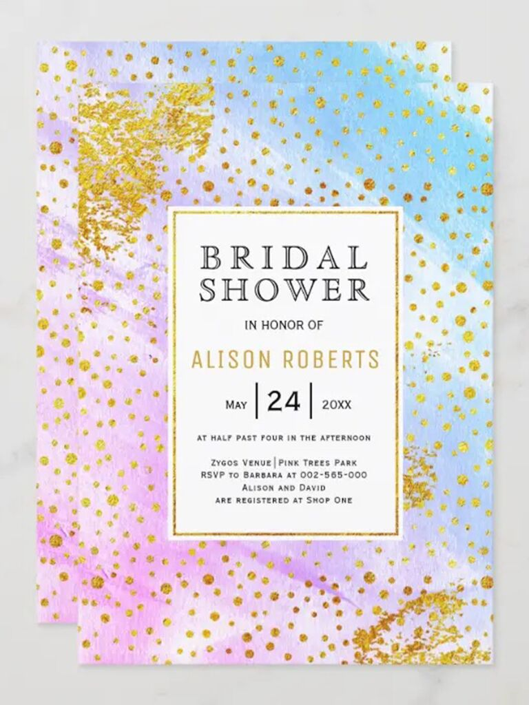 Gold confetti flecks and pink, purple and blue watercolor strokes surrounding box with event details
