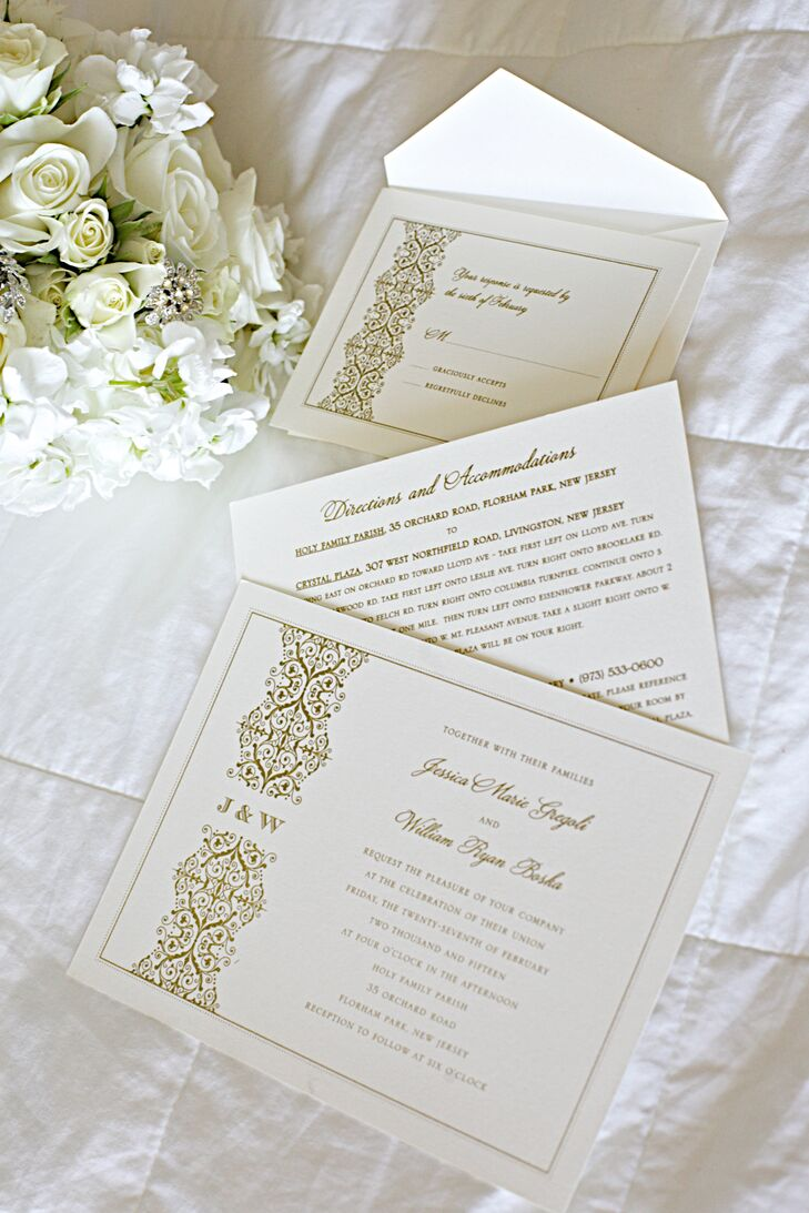 Wedding Paper Divas created the invitations with ivory stationery and gold thermography printed letters and filigree.