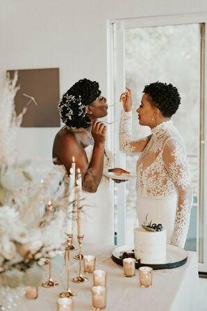 Couple Eating Wedding Cake During Elopement in Asheville, North Carolina