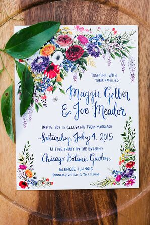 Recycled Papyrus Invitation Suite With Garden Theme
