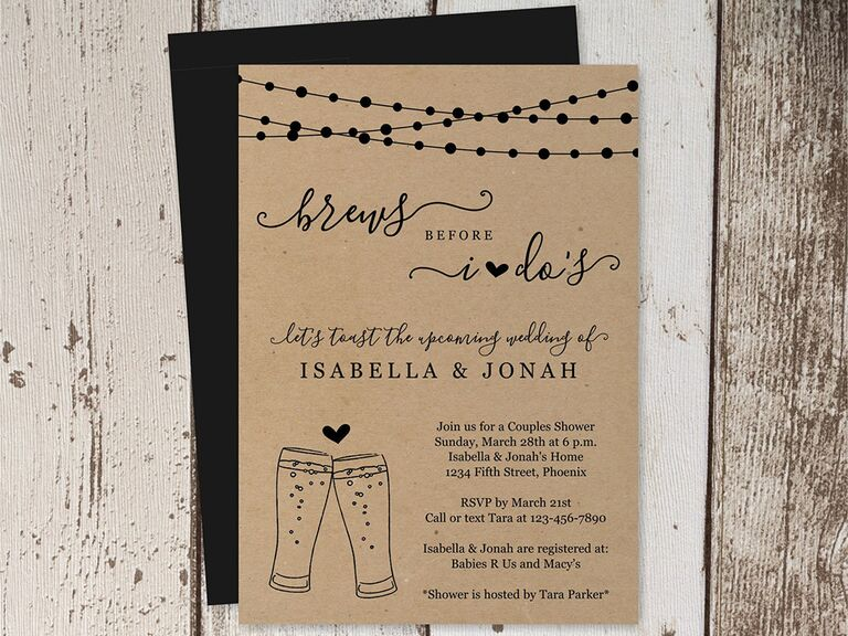 'brews before i dos' in loopy script with beer pint graphics and fairy lights on top border on kraft paper