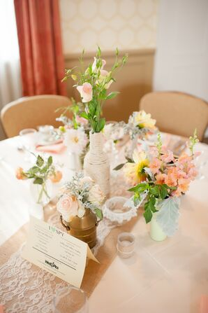 Mismatched Centerpieces with Burlap Table Runner