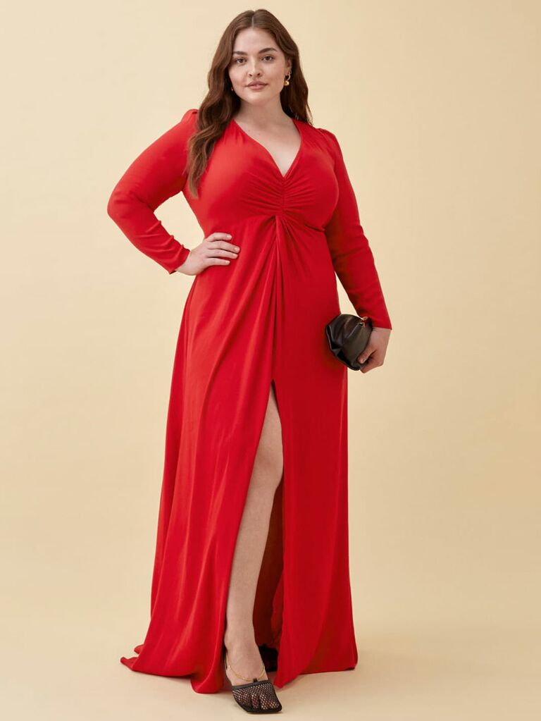 Red maxi dress with v neckline and long sleeves