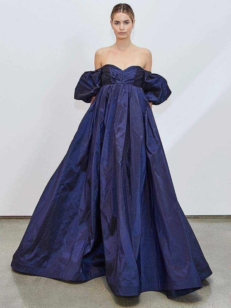Navy Blue Empire Wedding Dress