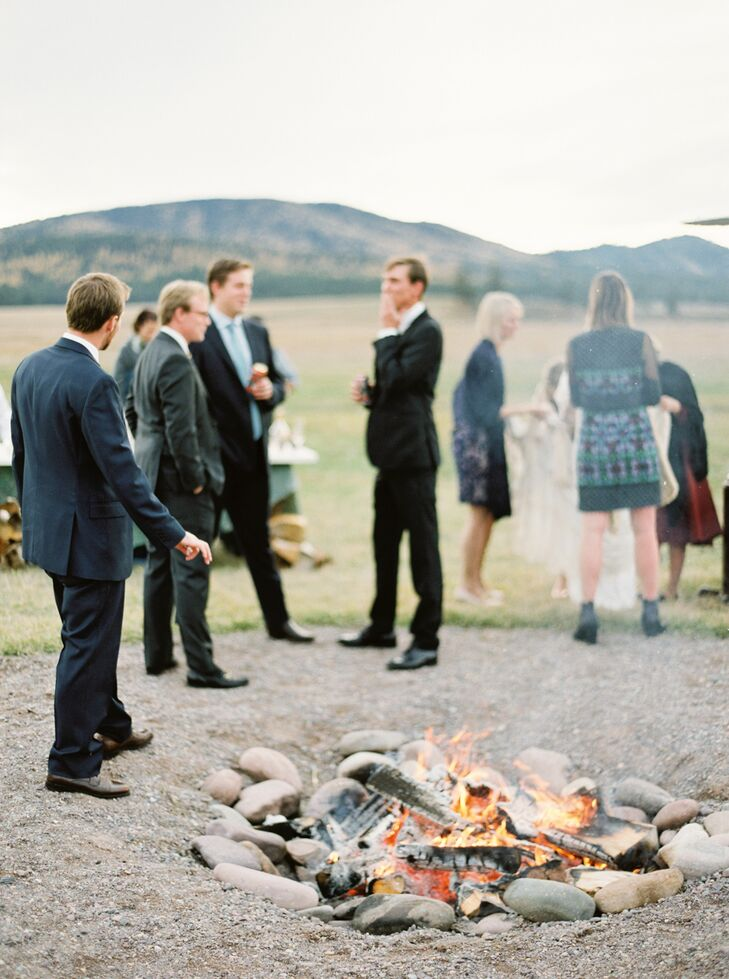"""""""After the ceremony we gathered in a field and had drinks and ate smore's around an open fire,"""" Sarah says."""