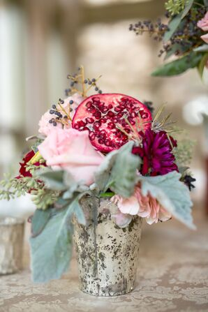 Vibrant Pomegranate and Pink Flower Table Arrangements