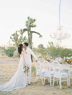 Bride and Groom Share a Kiss at Desert Elopement Celebration