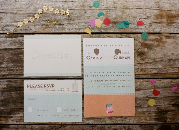 Natural colors and fun fonts gave the invites plenty of personality, while colorful confetti inside added an extra wow factor.