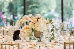 Garden-Inspired Rose and Hydrangea Centerpieces