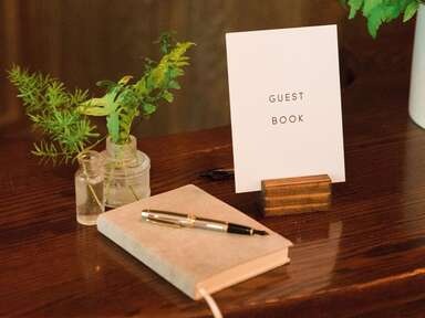 Wedding guest book at reception.
