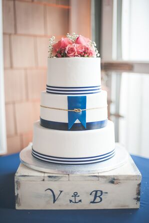 Nautical Navy, White and Coral Cake with Monogrammed Cake Stand