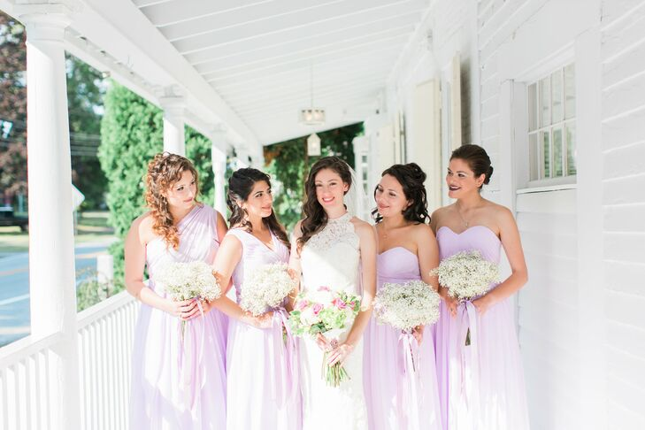 Bridesmaids wore muted, lavender gowns in a hue that perfectly matched the groomsmen ties.