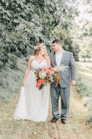 Flower Crown-Wearing Bride and Dapper Groom During Wedding Day
