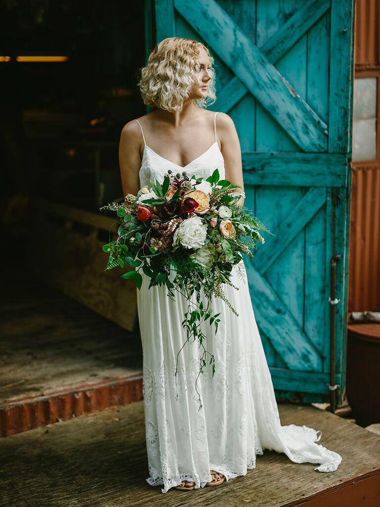 Cascading wedding bouquet idea with wildflowers