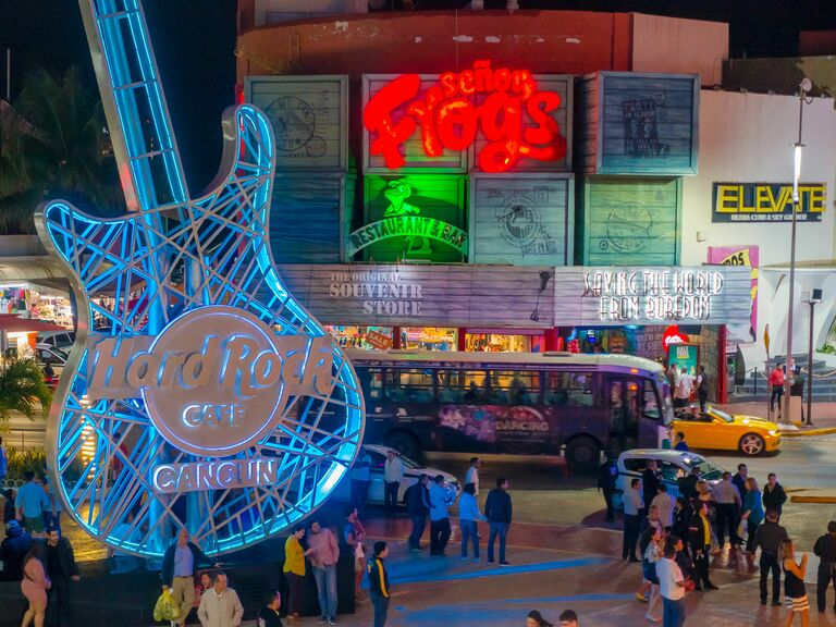 Cancun neon signs and nightlife