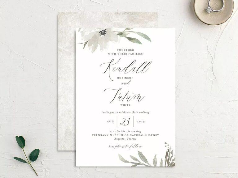 free wedding invitations white florals
