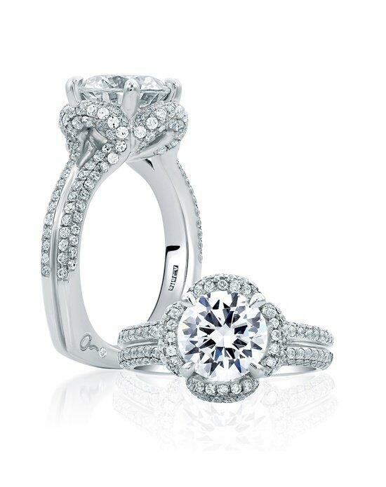 A.JAFFE Floral Round Cut Delicate Pave Bridal Engagement Ring, MES684 Engagement Ring photo
