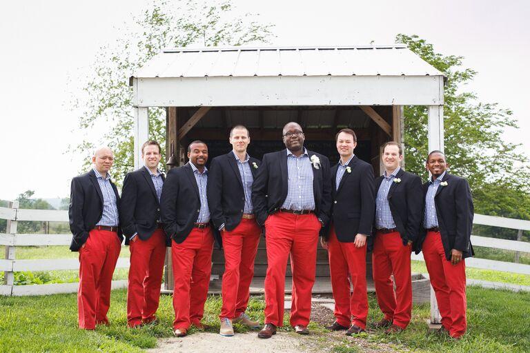 Groomsmen and Groom Wearing Red Pants Gingham Shirt Navy Jacket