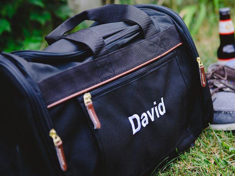 Personalized gym bag groomsmen proposal gift