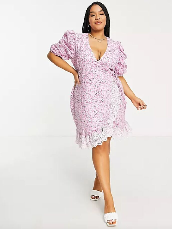 Lavender and pink floral print puff sleeve fall wedding guest dress