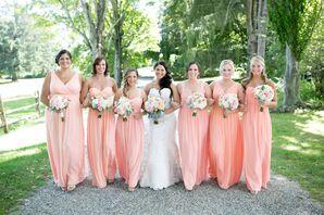 Long Peach Donna Morgan Bridesmaid Dresses