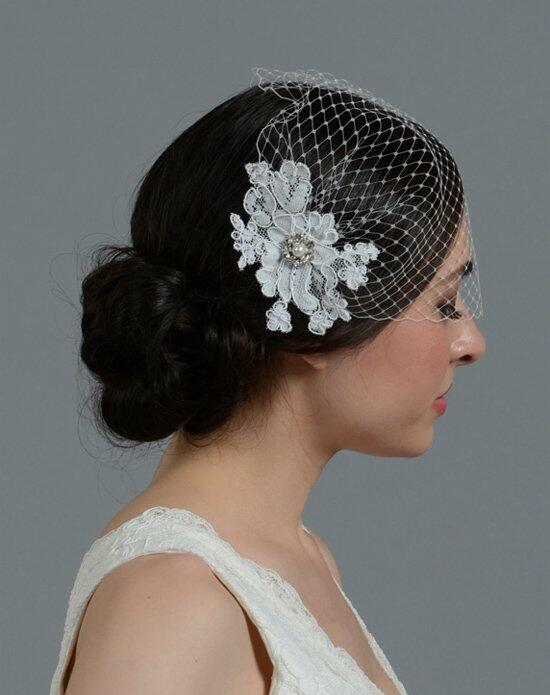 Tulip Bridal Birdcage Veil with Alencon Lace Flower-ivory Wedding Veils photo