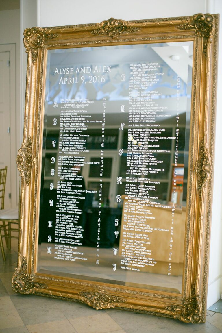 Large gold mirror seating chart