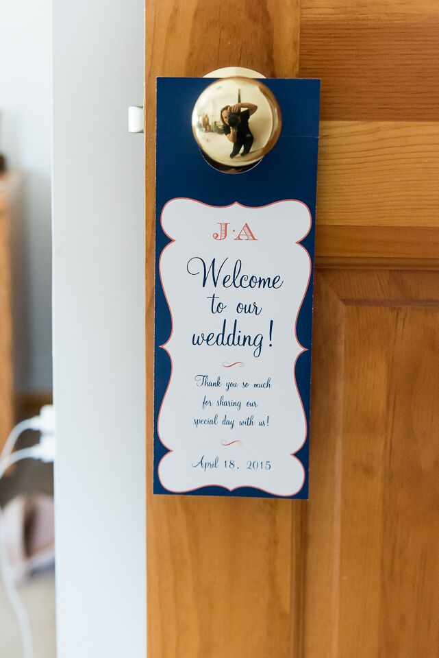 """Julia and Alex left their guests with a few treats for after the wedding. Everyone went home with a monogrammed t-shirt and a personalized door hanger for the next morning. """"We also wanted to make our out-of-town guests feel at home,"""" says Julia. """"Each room at the hotel got a welcome bag filled with our favorite snacks and a map with the weekend's events designed by the fabulous CW Designs."""""""