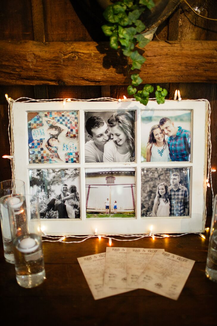To make the reception even more personalized, the couple lined their barn with photos. One table had just their engagement photos in a shabby-chic ivory frame, keeping with their rustic decor. The accent was surrounded by both floating candles and string lights, making sure it stood out for anyone who wanted to reminisce.