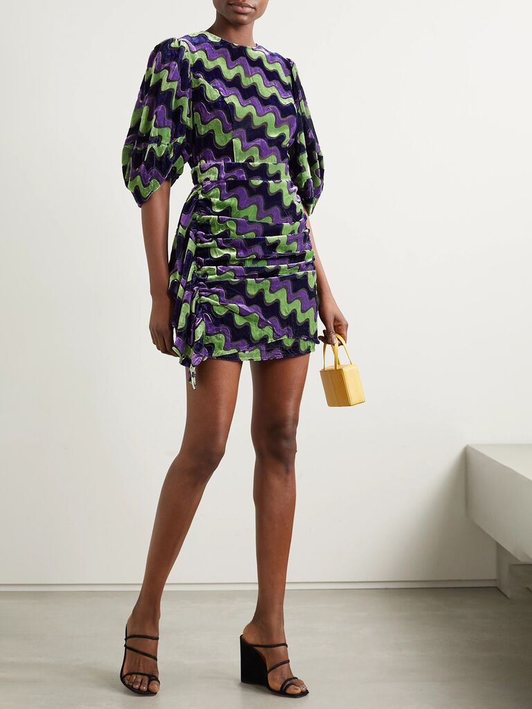 net a porter black green and purple patterned velvet wedding guest mini dress with ruching
