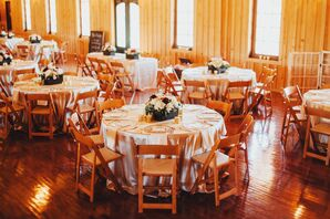 Round Champagne Dining Tables With Wooden Folding Chairs