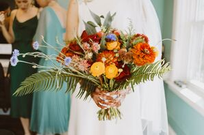 Colorful Bouquet With Zinnia and Fern