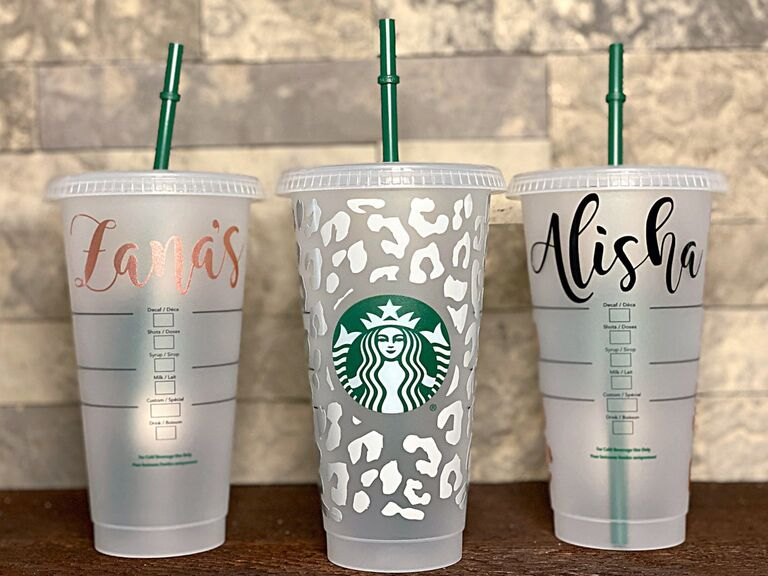 Personalized Starbucks cups for bridal party