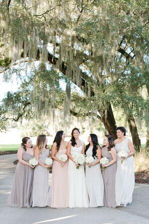 Muted Chiffon Floor-Length Bridesmaid Dresses