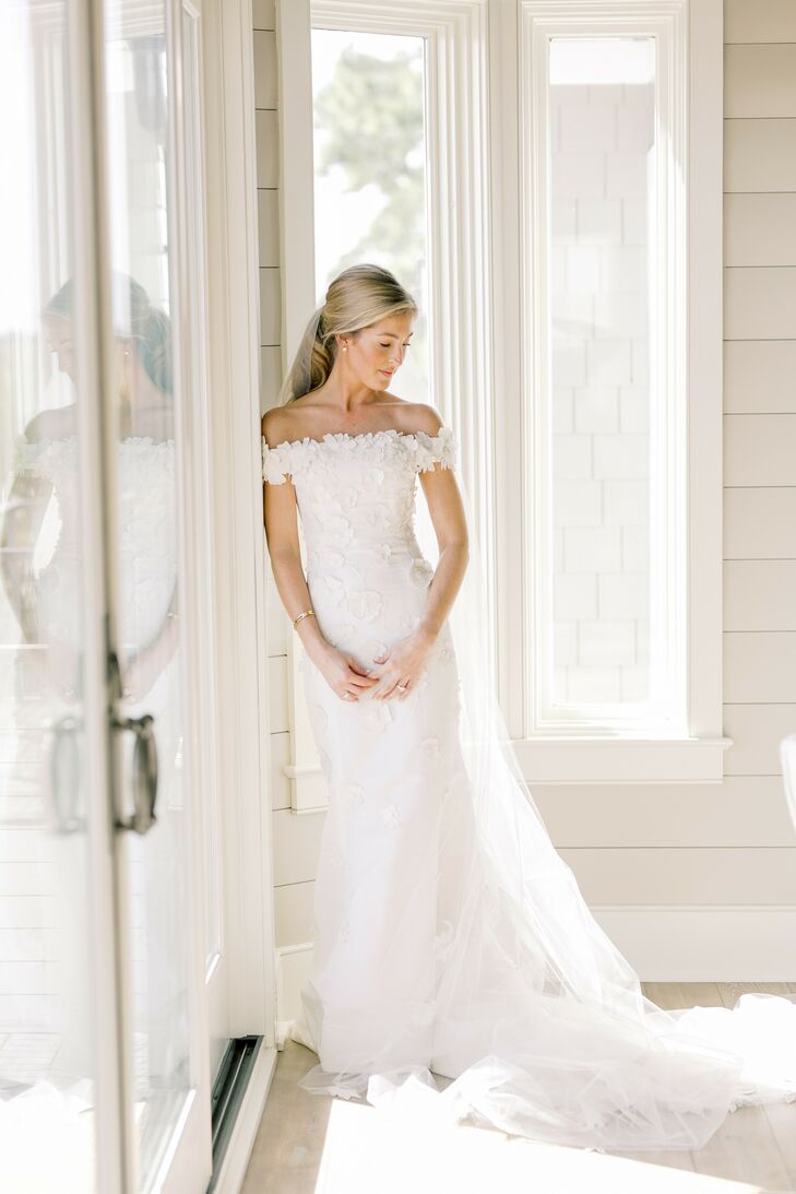Bride Getting Ready in Off-the-Shoulder Dress