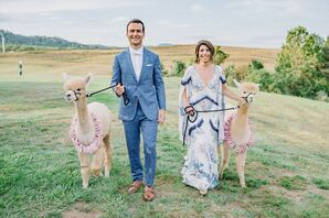 Alternative Couple with Alpacas at Early Mountain Vineyards in Madison, Virginia