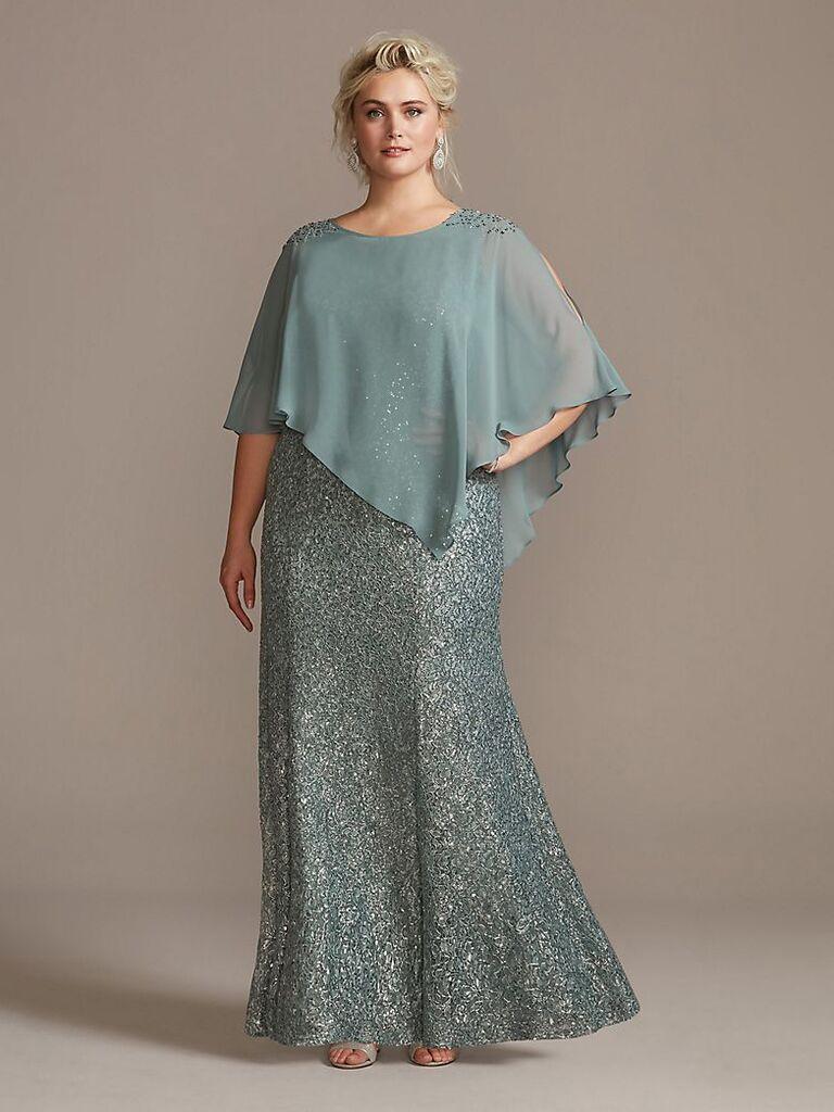 Ignite crystal cold-shoulder capelet plus size dress set