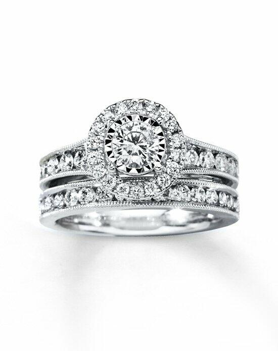 Kay Jewelers Diamond Bridal Set 1 3/8 CT TW ROUND-CUT 14K WHITE GOLD Engagement Ring photo