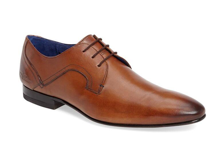 Ted Baker London Pelton Plain Toe Derby grey suit brown shoes