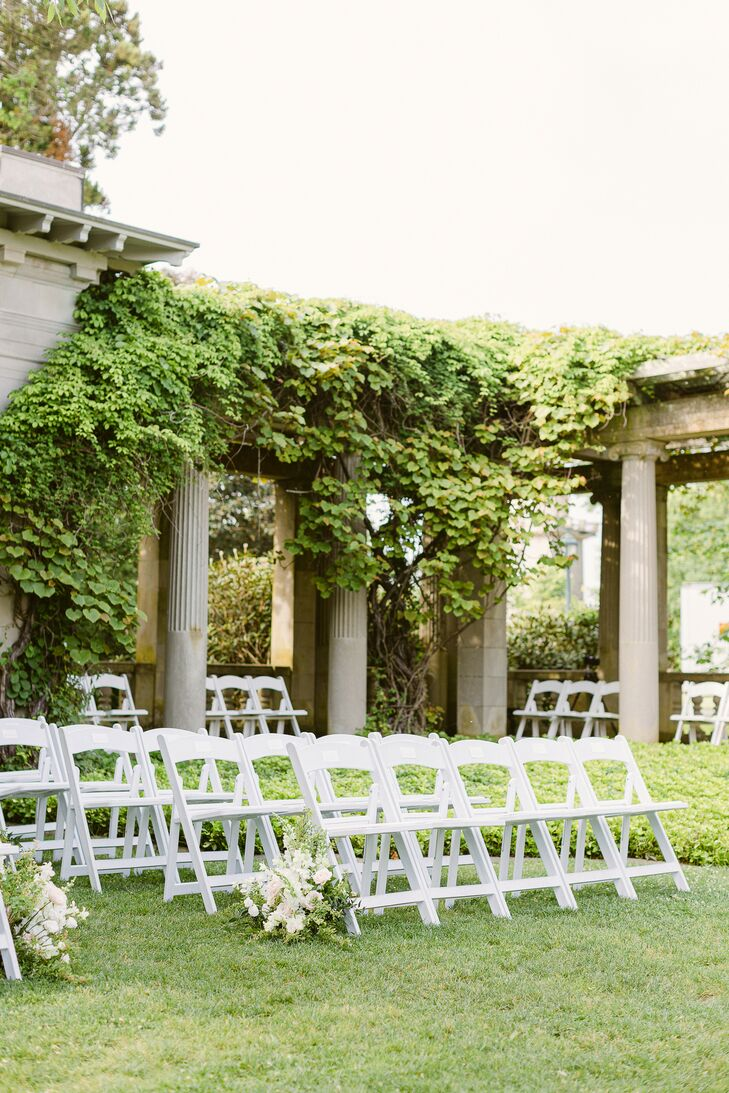 Folding Chairs for Ceremony at Eolia Mansion in Waterford, Connecticut