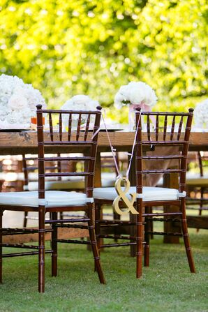 """Gold """"&"""" Wedding Chair Sign"""