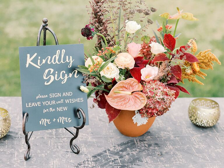 'Kindly Sign' and details in cursive type on slate-colored background