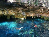 swimming in the Gran Cenote in Tulum, Mexico