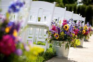 Yellow, Pink, Purple Wildflower Wedding Aisle Decor