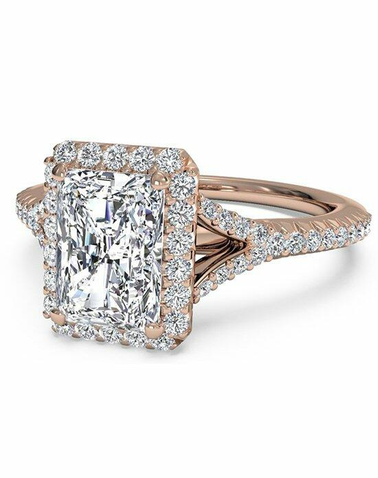 Ritani Radiant Cut French-Set Halo Diamond 'V' Band Engagement Ring in 18kt Rose Gold (0.23 CTW) Engagement Ring photo