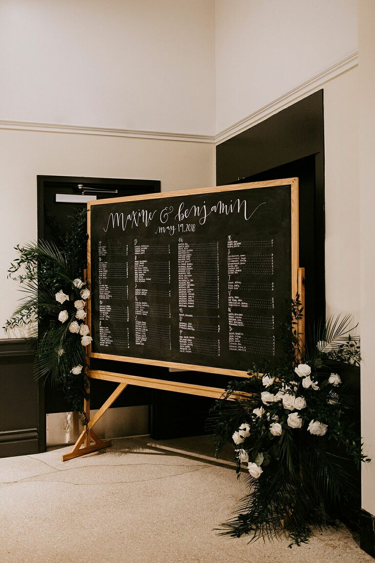 Chalkboard seating chart with floral accents