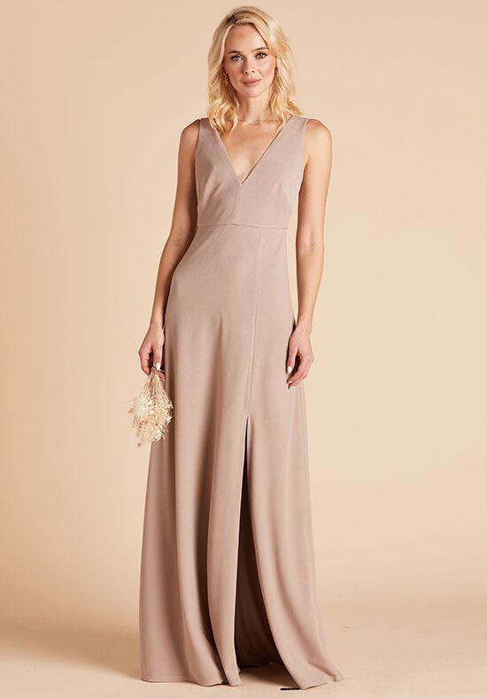 Birdy Grey Shamin Crepe Dress in Taupe V-Neck Bridesmaid Dress