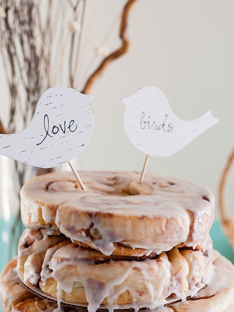 Fun cinnamon roll cake for a wedding brunch idea